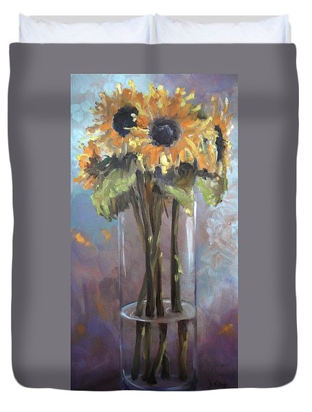 Sunflower Bouquet Duvet Cover by Donna Tuten