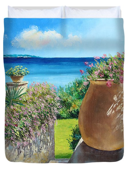 Sunny Terrace Duvet Cover by Jean-Marc Janiaczyk