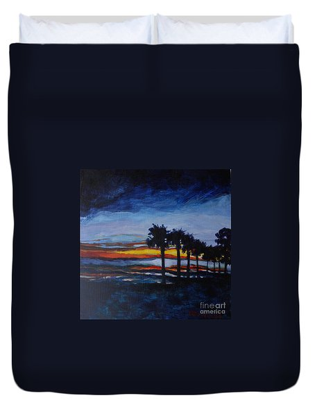 Sunset In St. Andrews Duvet Cover by Jan Bennicoff