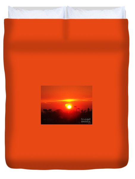 Duvet Cover featuring the photograph Sunset by Jasna Dragun