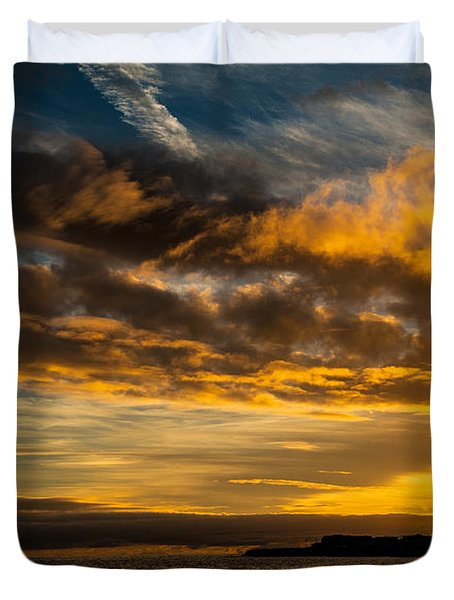 Sunset Over The Ocean  Duvet Cover