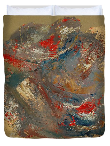 Duvet Cover featuring the painting Syncopation 2 by Mini Arora