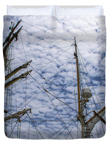 Duvet Cover featuring the photograph Tall Ship Mast by Dale Powell
