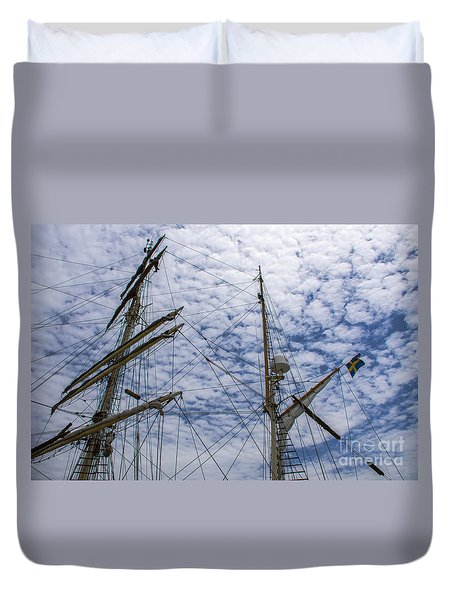 Tall Ship Mast Duvet Cover by Dale Powell