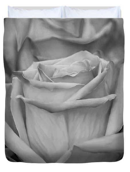 Tea Roses In Black And White Duvet Cover by Jeanette C Landstrom
