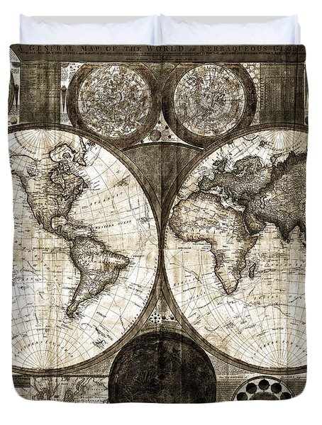 Terraqueous Globe - Map Of The World Duvet Cover by EricaMaxine  Price