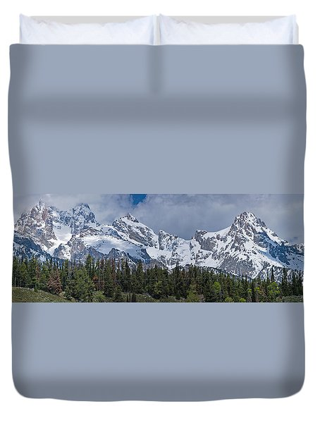 Large Tetons Panorama Duvet Cover