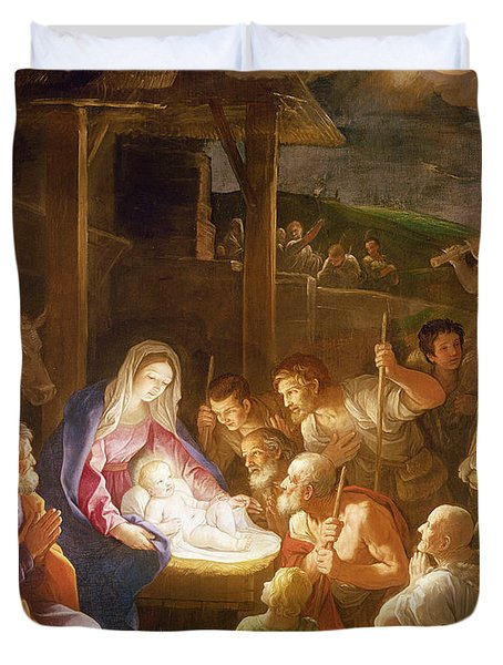 The Adoration Of The Shepherds Duvet Cover by Guido Reni