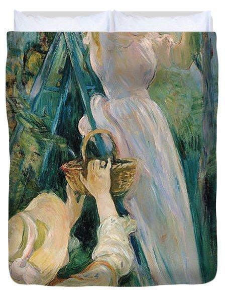 The Cherry Picker  Duvet Cover by Berthe Morisot