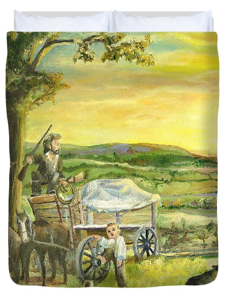 Duvet Cover featuring the painting The Farm Boy And The Roads That Connect Us by Mary Ellen Anderson