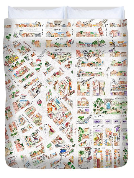 The Greenwich Village Map Duvet Cover by AFineLyne
