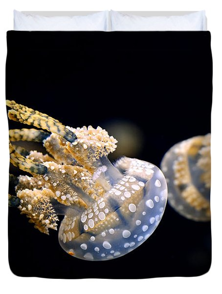The Spotted Jelly Or Lagoon Jelly Mastigias Papua Duvet Cover by Jamie Pham