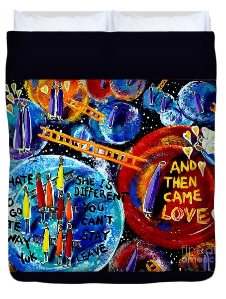 Duvet Cover featuring the painting Then Came Love by Jackie Carpenter