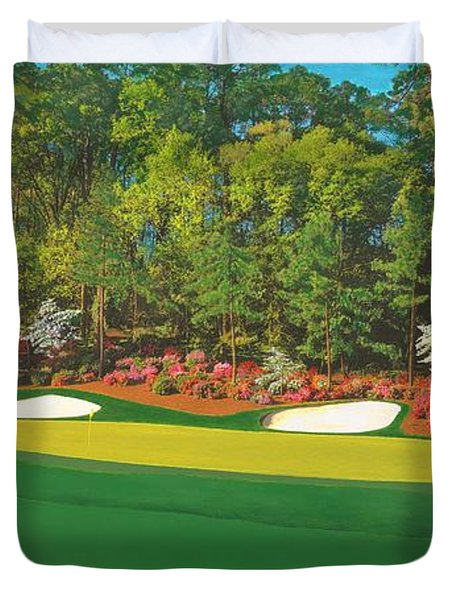 Thirteenth At Augusta Duvet Cover by L J Oakes