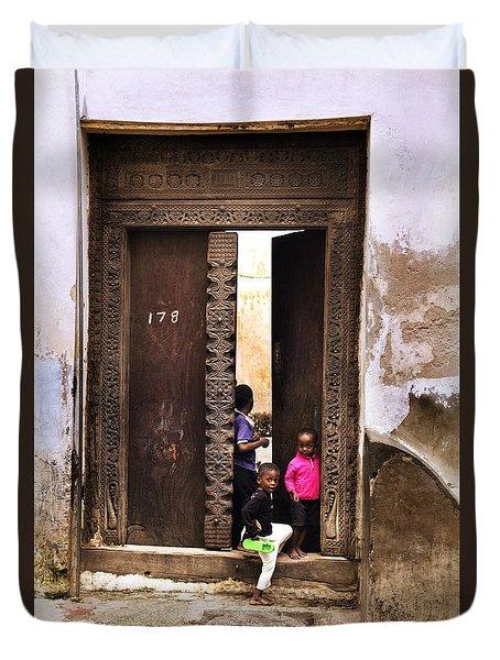 Duvet Cover featuring the photograph Kids Playing Zanzibar Unguja Doorway by Amyn Nasser