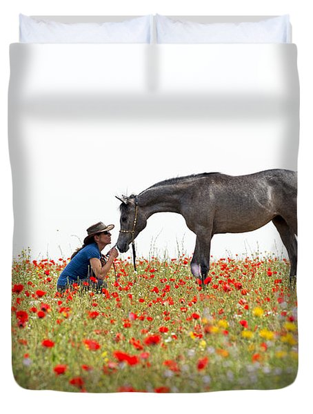Three At The Poppies' Field... 4 Duvet Cover