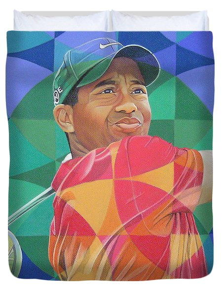 Duvet Cover featuring the drawing Tiger Woods by Joshua Morton