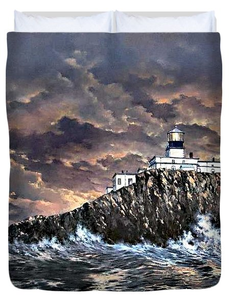 Duvet Cover featuring the painting Tillamook Rock Light by Lynne Wright