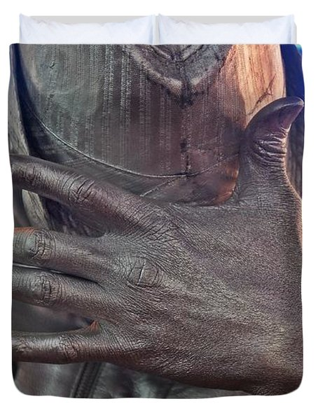 Duvet Cover featuring the photograph Tin Man In Times Square by Lilliana Mendez