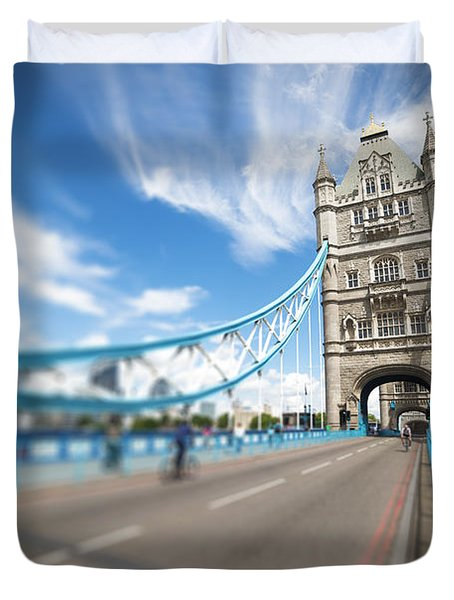 Duvet Cover featuring the photograph Tower Bridge In London by Chevy Fleet