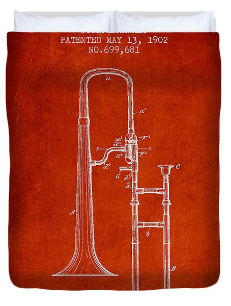 Trombone Patent From 1902 - Red Duvet Cover by Aged Pixel