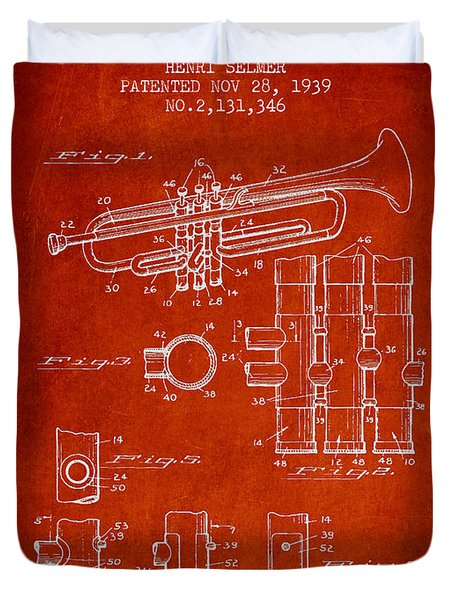 Trumpet Patent From 1939 - Red Duvet Cover by Aged Pixel