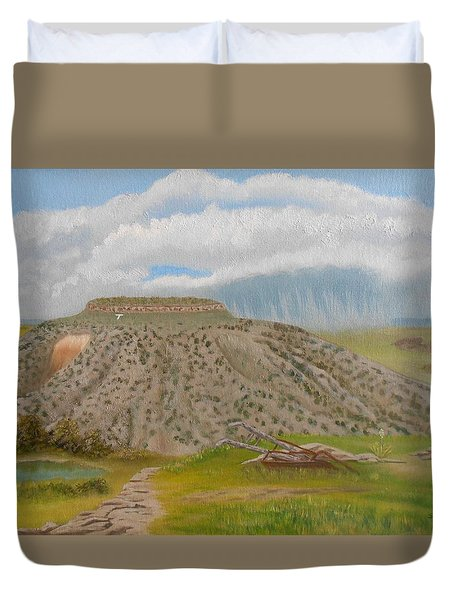 Tucumcari Mountain Reflections On Route 66 Duvet Cover by Sheri Keith