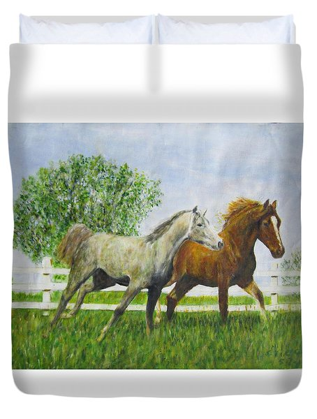 Two Horses Running By White Picket Fence Duvet Cover