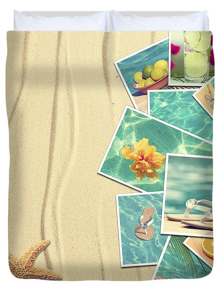 Vacation Postcards Duvet Cover