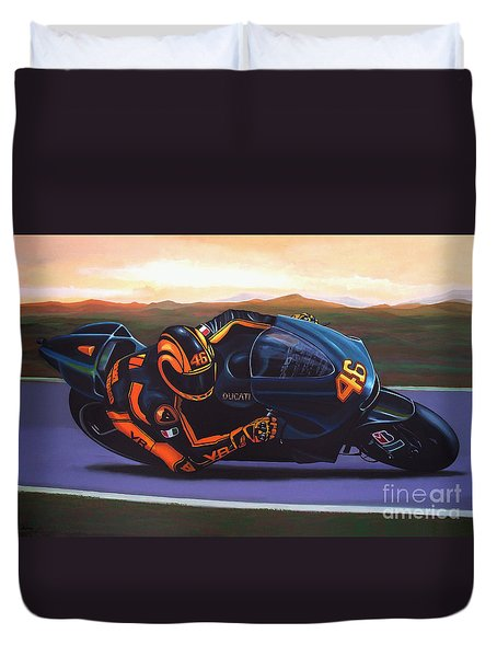 Valentino Rossi On Ducati Duvet Cover