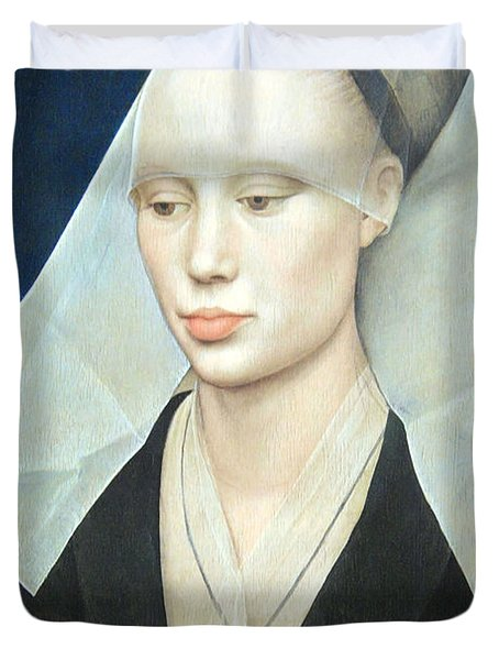 Duvet Cover featuring the photograph Van Der Weyden's Portrait Of A Lady by Cora Wandel