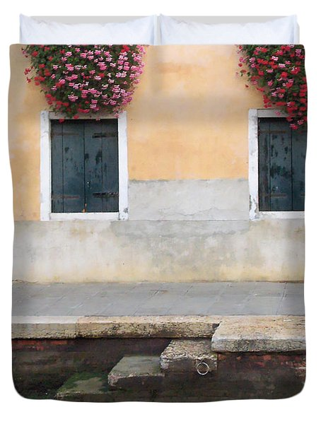 Venice Canal Shutters With Dog And Flowers Horizontal Duvet Cover