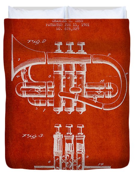 Cornet Patent Drawing From 1901 - Red Duvet Cover by Aged Pixel