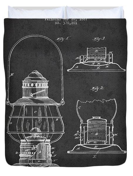 Vintage Lantern Patent Drawing From 1887 Duvet Cover