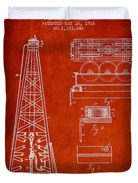Vintage Oil Drilling Rig Patent From 1916 Duvet Cover