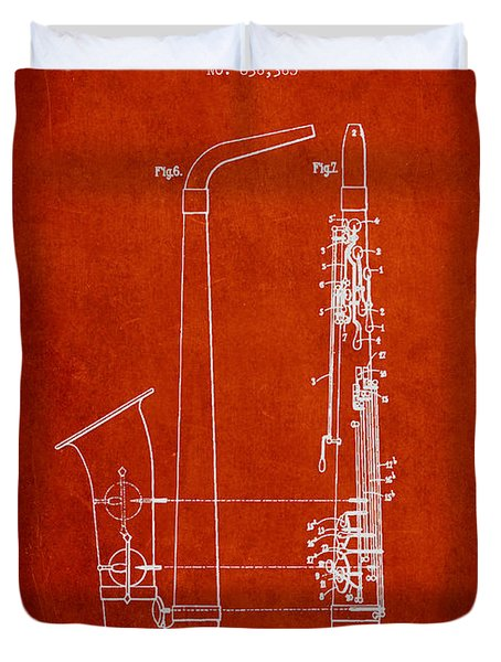 Saxophone Patent Drawing From 1899 - Red Duvet Cover