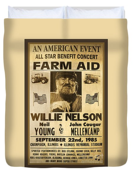 Vintage Willie Nelson 1985 Farm Aid Poster Duvet Cover