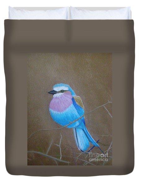 Violet-breasted Roller Bird Duvet Cover