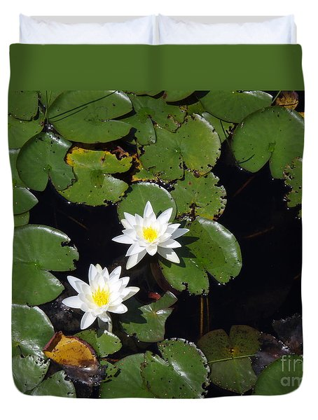 Duvet Cover featuring the photograph 2 Water Lily by Robert Nickologianis