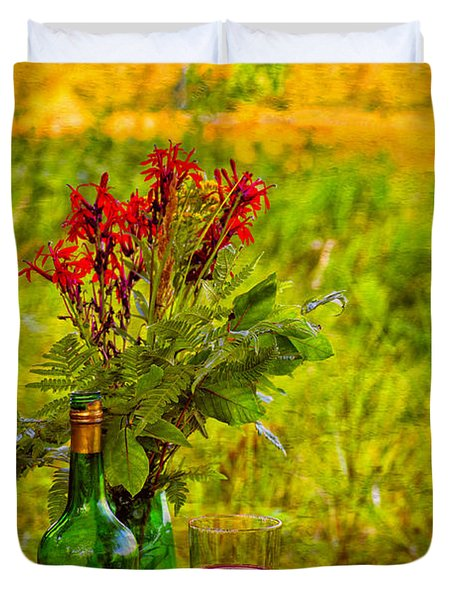 Wine And Flowers Duvet Cover by Les Palenik
