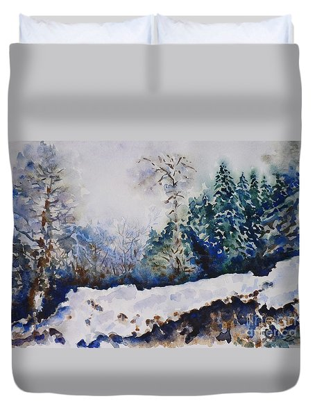 Winter In Dombay Duvet Cover by Zaira Dzhaubaeva