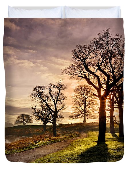 Duvet Cover featuring the photograph Winter Morning Shadows / Maynooth by Barry O Carroll
