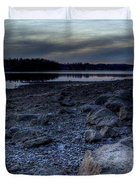 Winter Sunset On The Lake Duvet Cover
