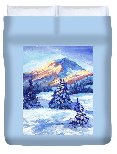 Winter Sunset  Duvet Cover by Peggy Wilson