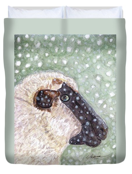 Duvet Cover featuring the painting Wishing Ewe A White Christmas by Angela Davies
