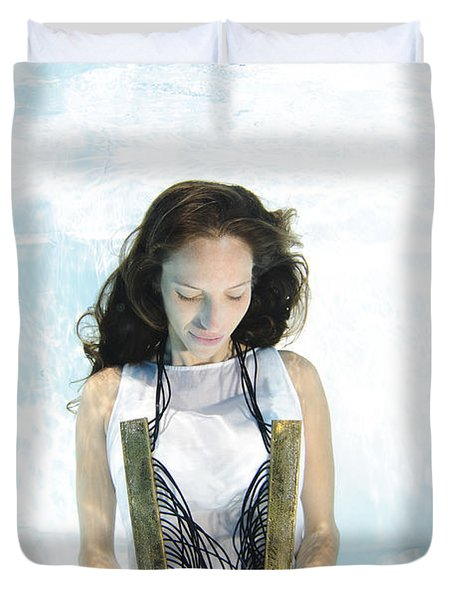 Woman Floats Underwater  Duvet Cover