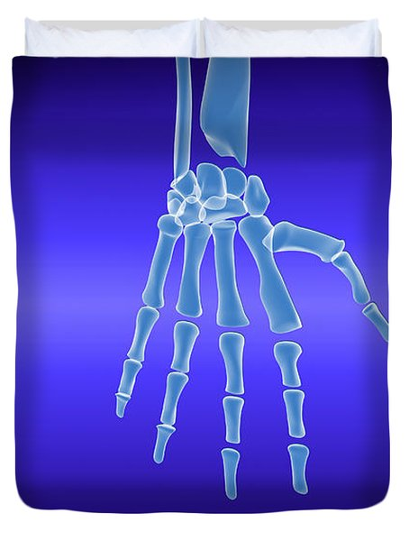 X-ray View Of Human Hand Duvet Cover by Stocktrek Images