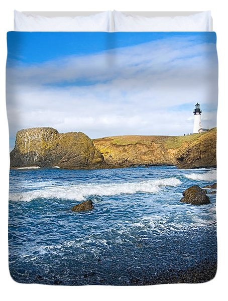 Yaquina Lighthouse On Top Of Rocky Beach Duvet Cover by Jamie Pham
