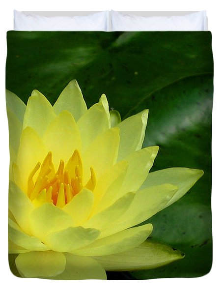 Yellow Waterlily Flower Duvet Cover