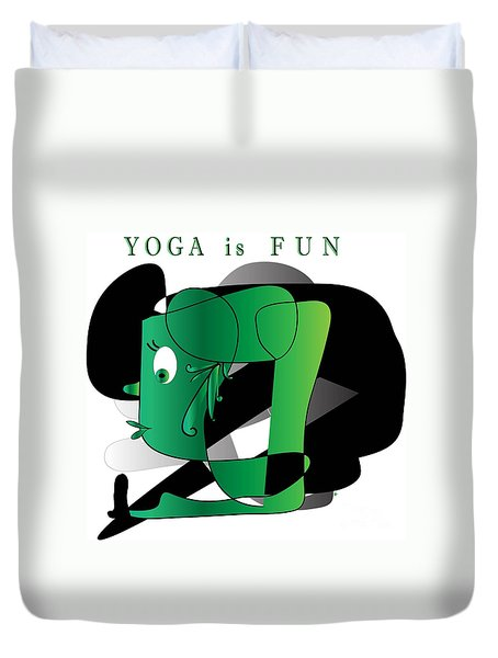 Duvet Cover featuring the digital art Yoga by Iris Gelbart